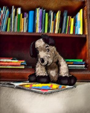 Puppy reads