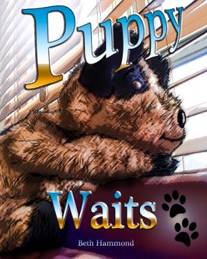 Puppy waits front cover paws